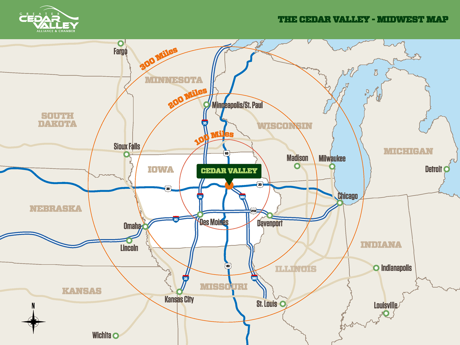 map of the Cedar Valley's location in the midwest