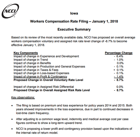 Workers Compensation Rate Filing - January 1, 2018